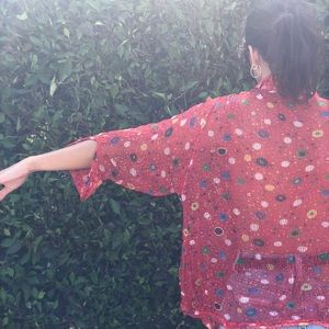 70s vintage polka dot, multi colored blouse
